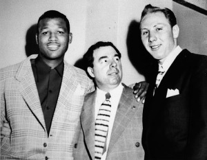 Frank 'Blinky' Palermo poses with Sugar Ray Robinson and Charlie Fusari before the storied bout wherein Robinson carried his unambiguously overmatched opponent for 15 straight rounds